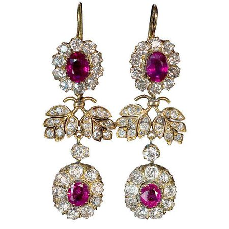 Imperial Era Russian Double Cluster Earrings at 1stdibs
