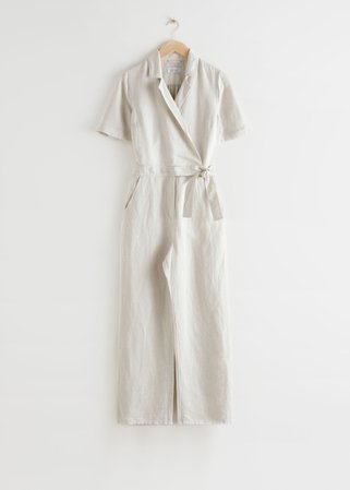 Short-Sleeved Wrap Jumpsuit - White - Jumpsuits & Playsuits - & Other Stories