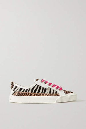 Impala Leather And Animal-print Calf Hair Sneakers - White