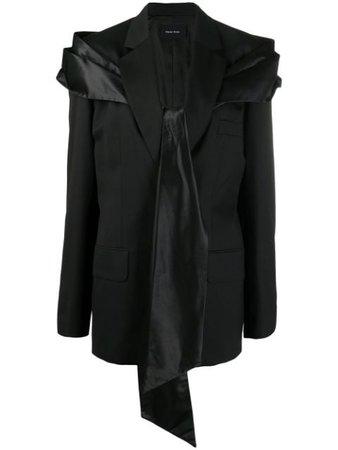 Shop black Simone Rocha satin-tie blazer with Express Delivery - Farfetch