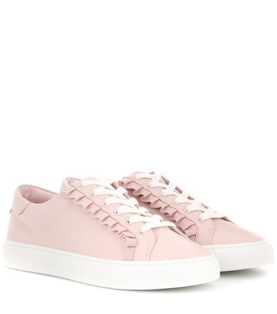 Tory Sport Ruffle Leather Sneakers In Pink   ModeSens
