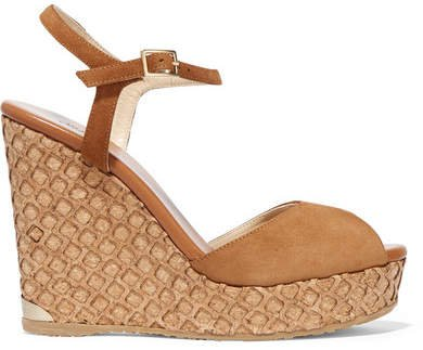Perla Suede Wedge Sandals - Tan