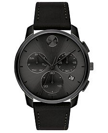 Movado Men's Swiss BOLD Black Leather Strap Watch, 42mm & Reviews - All Fine Jewelry - Jewelry & Watches - Macy's