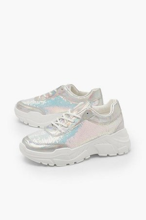 Sequin Panel Chunky Sole Lace Up Trainers | Boohoo