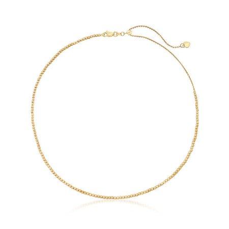 14kt Yellow Gold Diamond-Cut Bead Choker Necklace | Ross-Simons