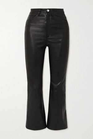 Cropped Leather Flared Pants - Black