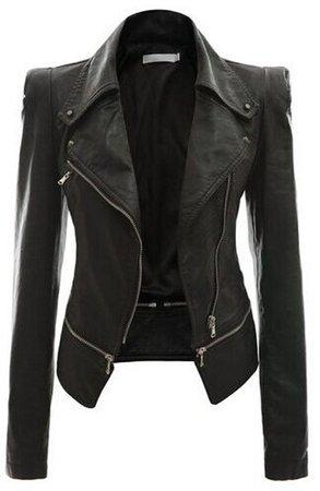 New Fashion Women Faux Leather Jackets Long Sleeve Lady Slim Short Bomber Coat Motorcycle Outerwear on Luulla