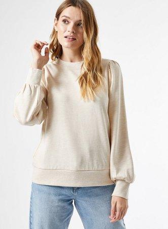 Camel Puff Sleeve Sweatshirt