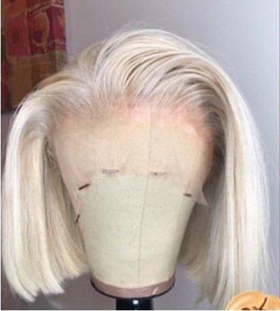 platinum blonde messy side bob