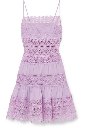 Charo Ruiz | Joya crocheted lace-paneled cotton-blend mini dress | NET-A-PORTER.COM