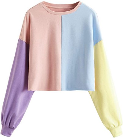 SheIn Women's Casual Colorblock Crew Neck Long Sleeve Crop Pullover Sweatshirts Tops at Amazon Women's Clothing store