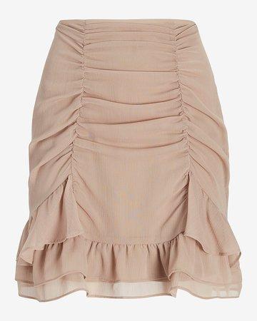 High Waisted Ruched Ruffle Mini Skirt | Express