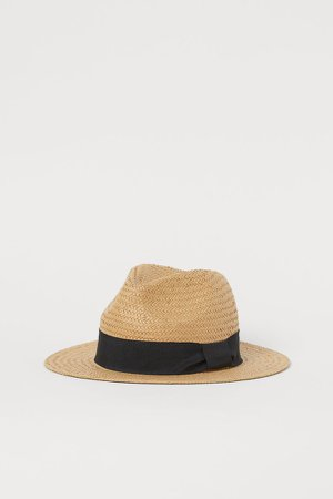 Straw Hat with Grosgrain Band - Beige