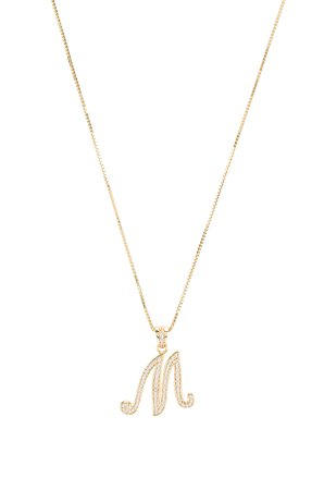 The Iced Out Script Initial M Necklace
