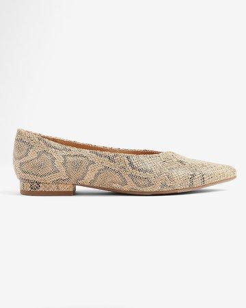 Snakeskin Pointed Toe Ballet Flats