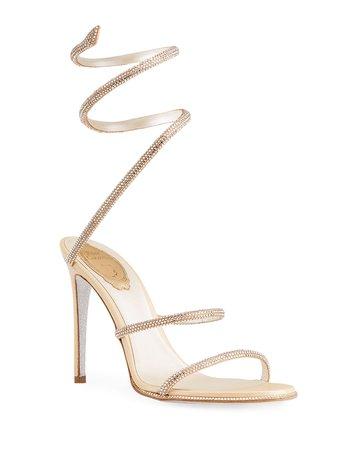 Rene Caovilla Crystal Satin Snake-Coil Sandals   Neiman Marcus