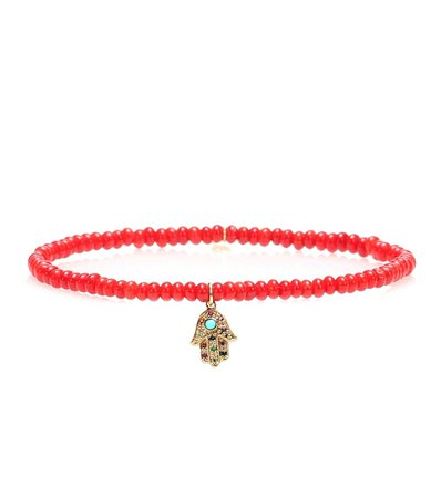 Sydney Evan - Baby Hamsa Rainbow bamboo coral and 14kt gold beaded bracelet with sapphires   Mytheresa