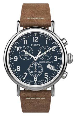 Timex® Waterbury Standard Chronograph Leather Strap Watch, 41mm   Nordstrom