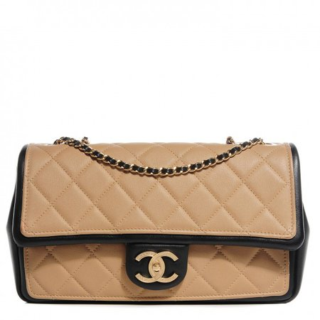 CHANEL Calfskin Quilted Graphic Medium Flap Bag Beige Black 100346