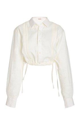 Ecru Cuban Towns Cropped Linen Shirt by Johanna Ortiz | Moda Operandi