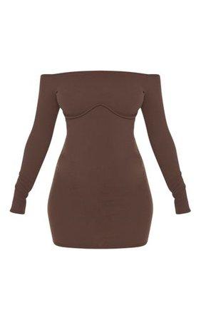 Chocolate Brown Binding Underbust Bodycon Dress | PrettyLittleThing