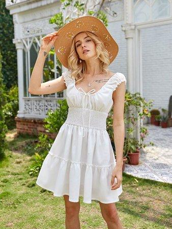 Sale   Shirred Waist Milkmaid Dress   ROMWE USA