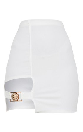 White Lion Head Buckle Detail Mini Skirt | PrettyLittleThing