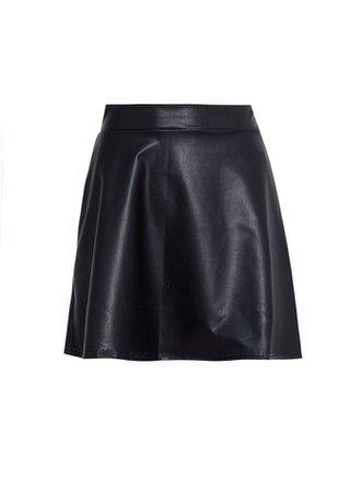 PETITE Black PU Skater Skirt | Miss Selfridge
