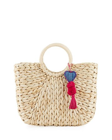 Hat Attack Small Ring Handle Woven Tote Bag