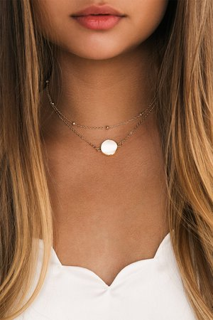 Cute Pearl Choker - Gold Choker - Layered Choker