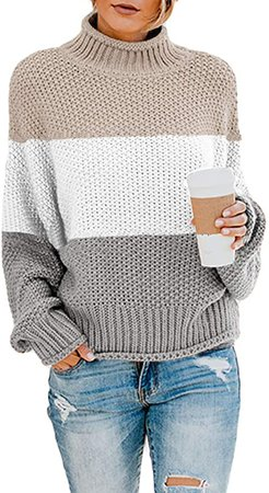 Saodimallsu Womens Turtleneck Oversized Sweaters Batwing Long Sleeve Pullover Loose Chunky Knit Jumper (X-Large, Z-Gray) at Amazon Women's Clothing store