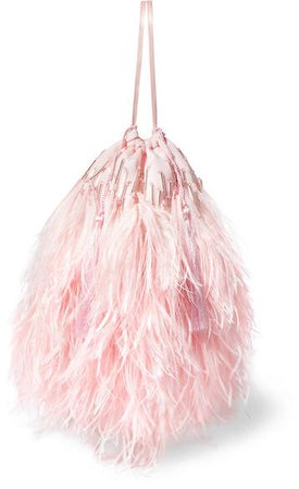 Feather-trimmed Beaded Satin Pouch - Pink