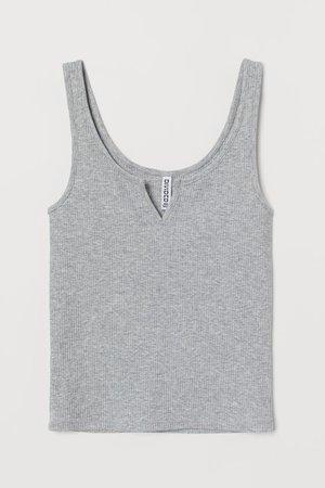 Ribbed Tank Top - Gray melange - Ladies | H&M US