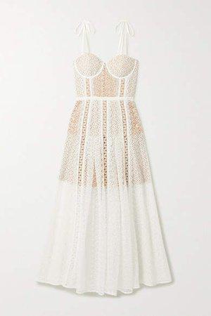 Self Portrait Grosgrain-trimmed Paneled Lace Midi Dress - White