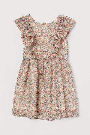 Floral chiffon dress - White/Small flowers - Kids | H&M GB