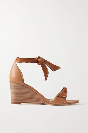 Clarita Demi Bow Embellished-leather And Suede Wedge Sandals - Light brown