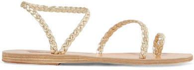 Eleftheria Braided Metallic Leather Sandals - Gold