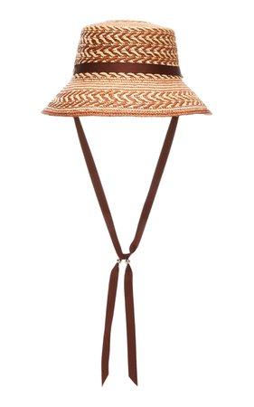 Sensi Studio Lamp Shade Grosgrain-Trimmed Straw Panama Hat Size: M