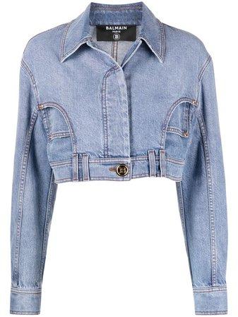 Balmain Jaqueta Jeans Cropped - Farfetch