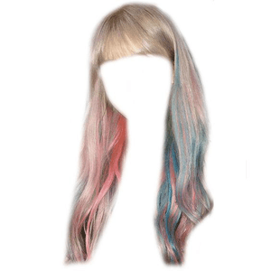 brown -ish gray grey hair bangs PNG pink and blue tips/streaks