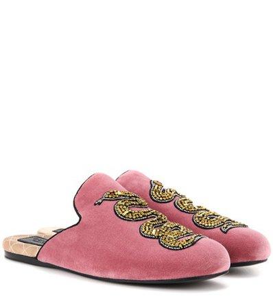 Embellished velvet slippers