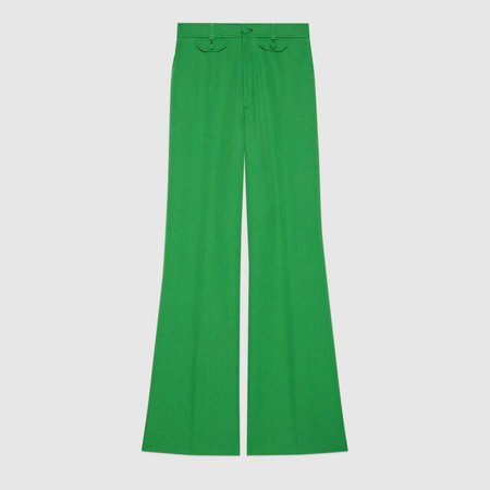Wool Twill Flare Pant In Green   GUCCI® TR