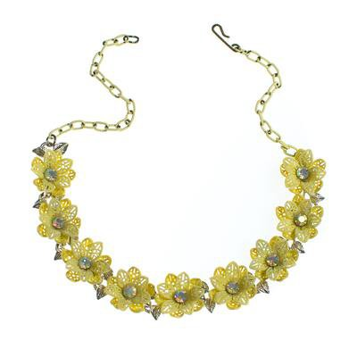 Vintage Yellow Flower Choker Necklace with Aurora Borealis Crystals - Vintage Meet Modern