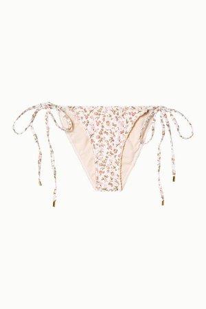 Peony   + NET SUSTAIN crochet-trimmed floral-print bikini briefs   NET-A-PORTER.COM