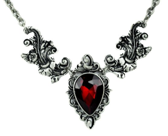 1001 × 809Images may be subject to copyright Ivy Leaf Red Stone Gothic Victorian Style Necklace
