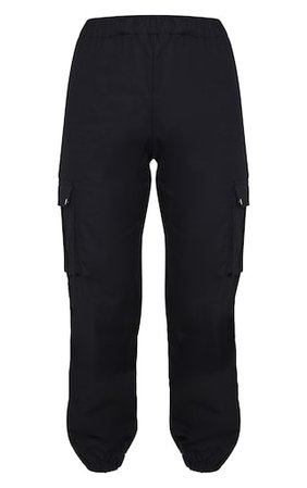 Black Pocket Detail Cargo Trousers | PrettyLittleThing
