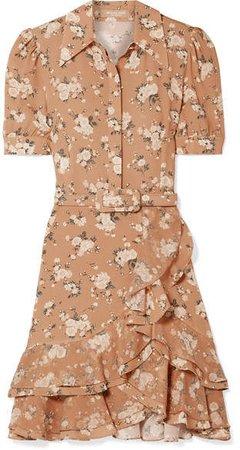 Belted Ruffled Floral-print Silk-georgette Mini Dress - Tan