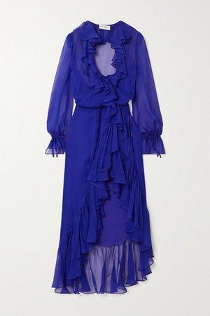 Ruffled Silk-chiffon Wrap Midi Dress - Blue