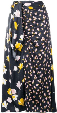Floral Wrap Detail Skirt