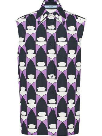 Prada geometric-print sleeveless shirt - FARFETCH